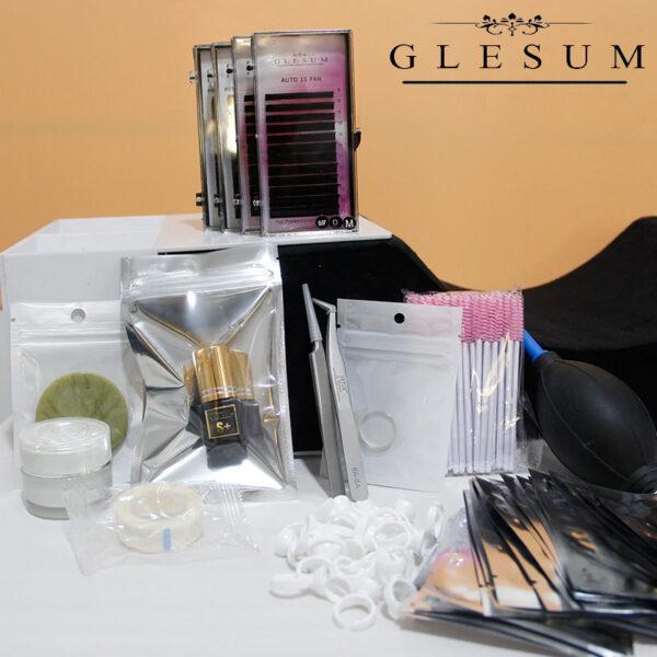 Glesumkit profesional para extensión de pestañas - 14 diferentes ingredientes-herramientas para injerto de pestañas.