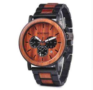 BOBO BIRD reloj de madera de lujo estilo cronógrafo militar