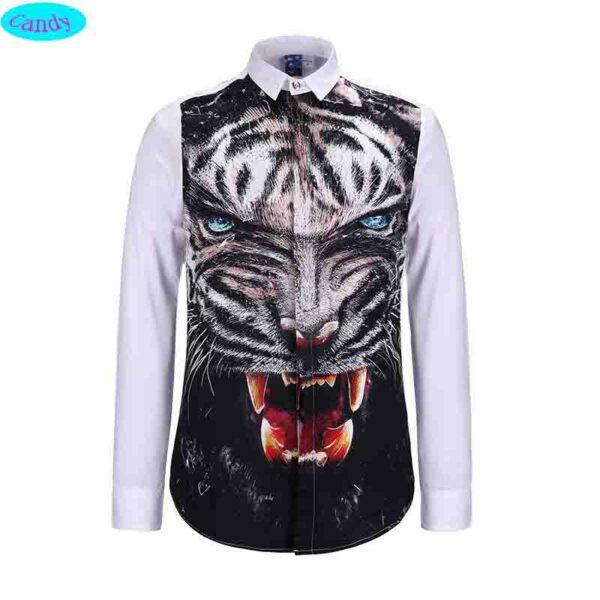 Camisas manga larga casual imagen leopardo 3D