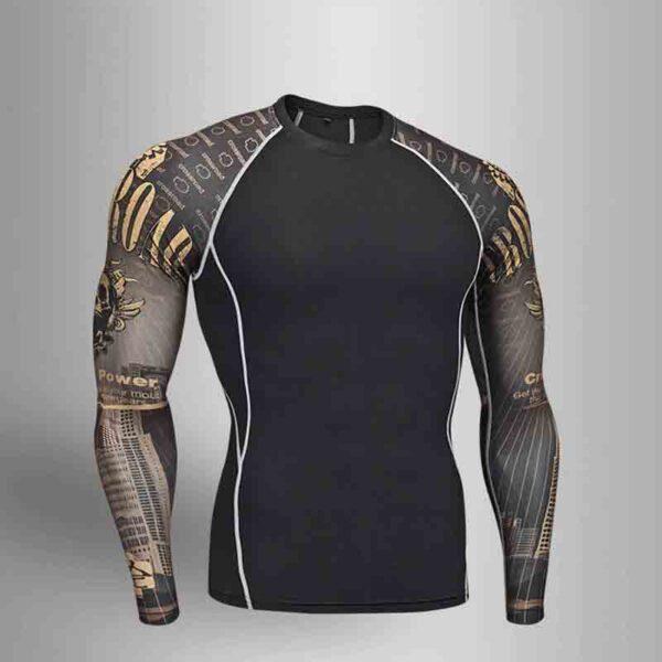 Camiseta de compresión manga larga MMA para hombre