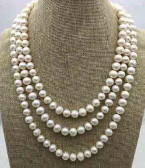 Collar de perlas de agua dulce de color blanco