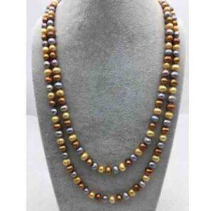 Collar de perlas de agua dulce multicolor