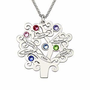 Collar en plata de árbol familiar