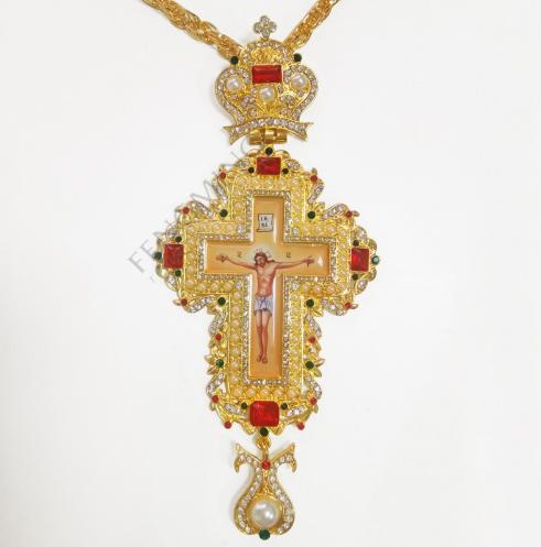 Cruz pectoral de alta calidad con chapado en oro
