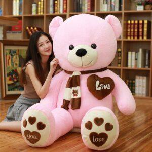 Gigante peluche de oso con bufanda y corazón de 100 cms
