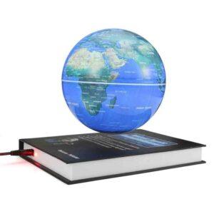 Globo anti gravedad mapa mundo magnético sobre base libro