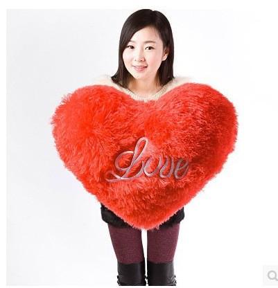 Gran corazón rojo amor almohada de peluche
