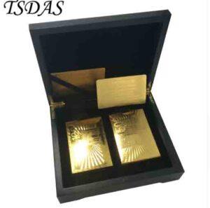 Juego de cartas poker de lujo diseño 24 K lámina de oro