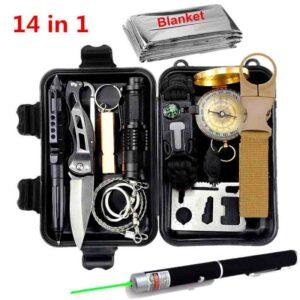 Kit de supervivencia al aire libre 14 en 1 Conjunto de herramientas múltiples