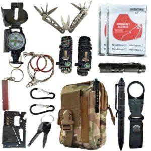 Kit de supervivencia al aire libre 16 en 1 conjunto de suministros de viaje