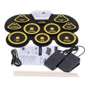 Kit portátil de almohadilla tambor electrónico con baquetas y pedal