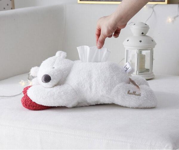 Peluche de oso polar porta pañuelitos