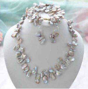 Pendientes, pulsera y collar de perlas Reborn Lamina Keshi de lavanda