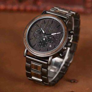 Reloj BOBO BIRD de acero inoxidable y madera de lujo, diseño cronógrafo WQ26-1