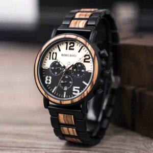 Reloj de acero inoxidable de madera resistente al agua BOBO BIRD