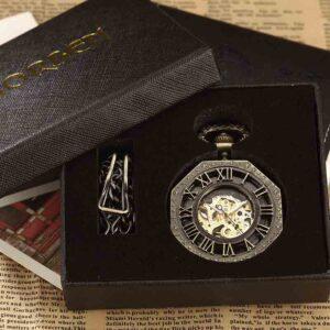 Reloj de bolsillo de número romano Hexagonal único de lujo bronce