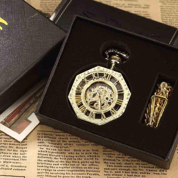 Reloj de bolsillo de número romano Hexagonal único de lujo dorado