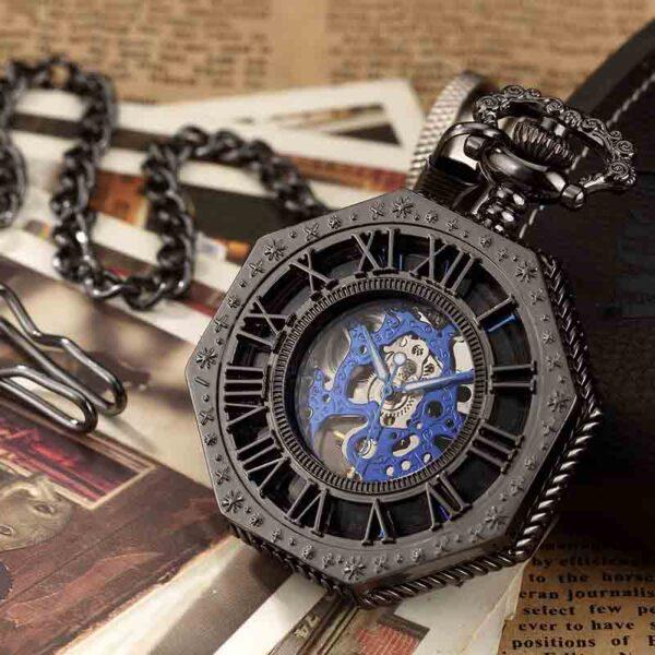 Reloj de bolsillo de número romano Hexagonal único de lujo negro
