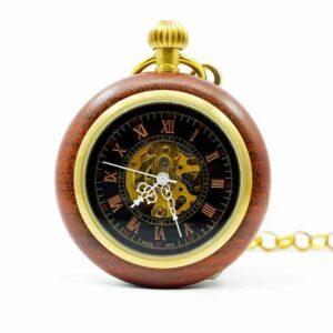 Reloj de bolsillo en madera mecánico Steampunk