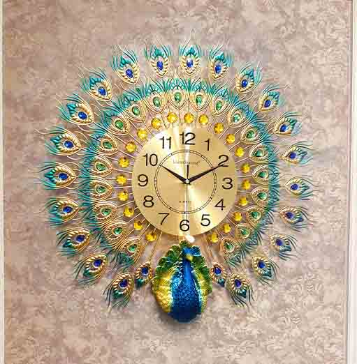 Reloj de pared de cuarzo de lujo, dorado de pavo real