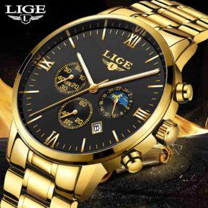 Reloj deportivo de marca de lujo LIGE, informal a prueba de agua, acero militar