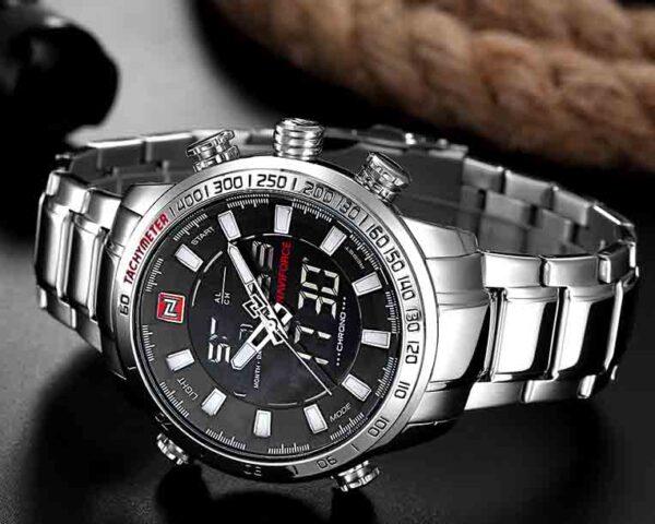 Relojes deportivos militares de marca NAVIFORCE, digitales analógicos de cuarzo e inoxidable