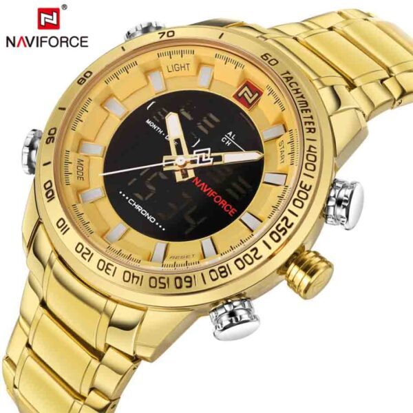 Relojes dorados deportivos militares de marca NAVIFORCE, digitales analógicos de cuarzo e inoxidable