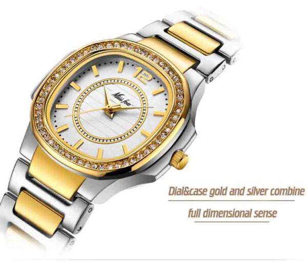 Relojes lujo de moda para mujer, pulsera de cuarzo y oro con diseño Geneva