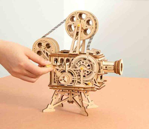 Robotime juego de rompecabezas 3D de madera con manivela para proyector película