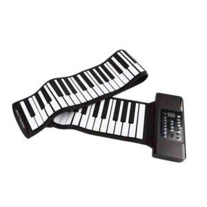 Rollo eléctrico de piano portátil plegable 88 teclas flexible de silicona