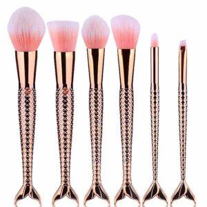 Set profesional forma de sirena para maquillaje - cepillos de alta calidad