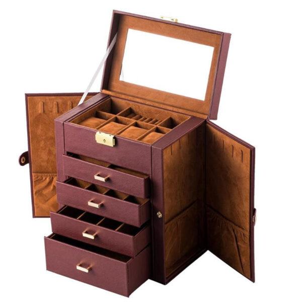 caja para joyería imitación cuero, almacenamiento con cerradura