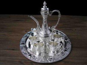 8 unids/set metal plata blanco vino set cocina comedor 6 copa de vino 1 tarro 1 bandeja en relieve
