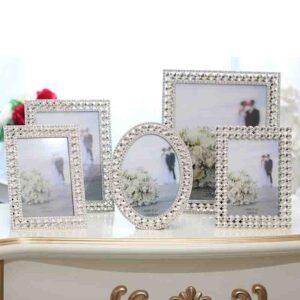 Elegante Bling acentos brillante Chapado en plata con diamantes de imitación