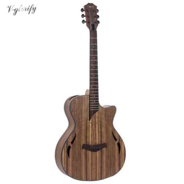 Guitarra acústica eléctrica de madera de nogal con EQ con sintonizador