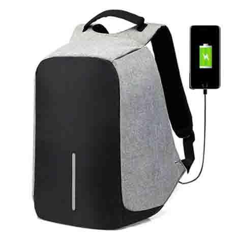 Mochila para ordenador portátil de 15 pulgadas con carga USB antirrobo para viajes e impermeable