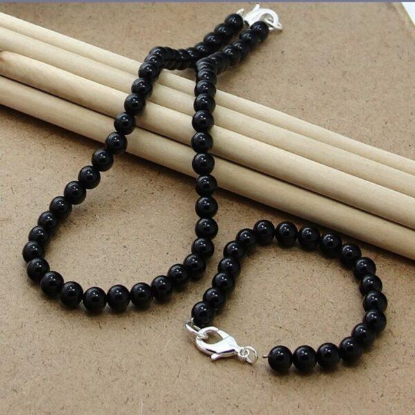 collar de perlas negras para hombre y mujer