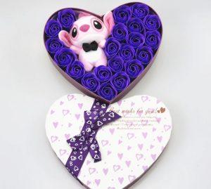 Cajitas de Corazón con peluche de la novia de Stitch